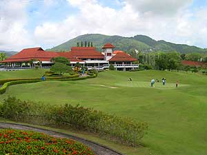 Phuket golf course with green senery and lake view
