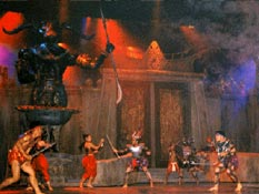 Inside of Phuket Fantasea Show theme park with special effects