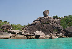 Rock formation on the mountain during Similan Island tours.